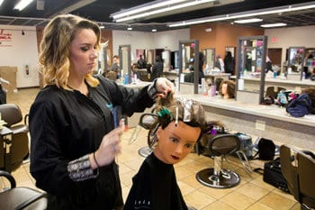 Student styling mannequin head