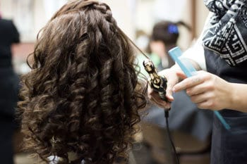 Student curling hair