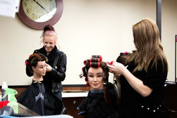 Saint Andrews KS students learning cosmetology